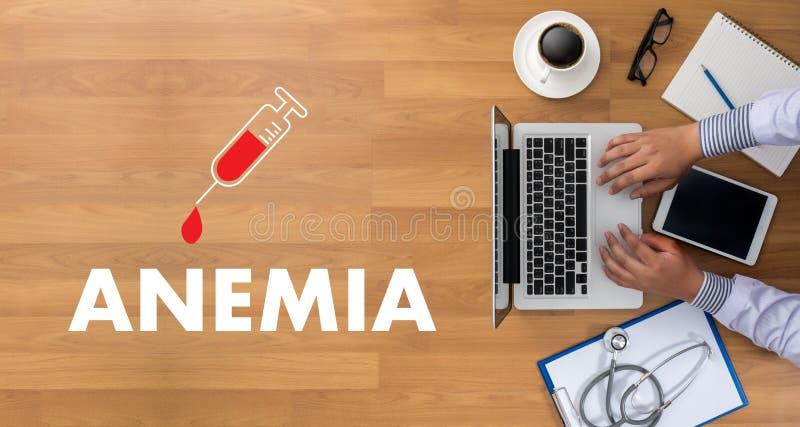 Sangue da ANEMIA para o teste, conceito médico, deficie do ferro do diagnóstico imagem de stock royalty free