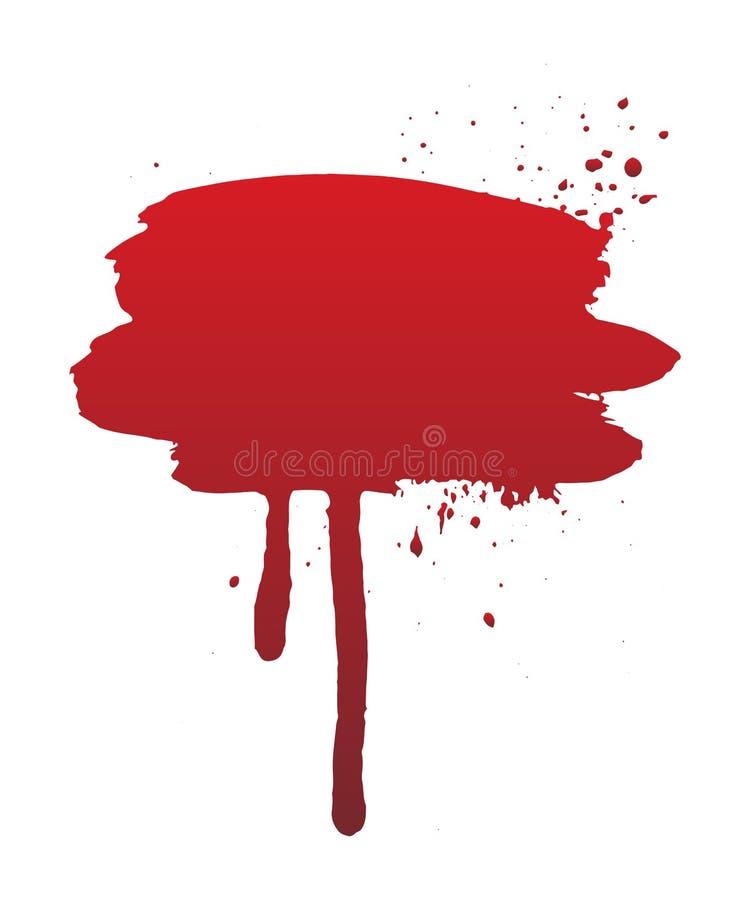 Sangue della sgocciolatura o colpo rosso della spazzola Il concetto di Halloween, inchiostro schizza l'illustrazione fotografia stock libera da diritti
