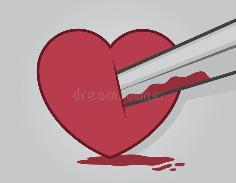 Sangue do coração da espada ilustração stock
