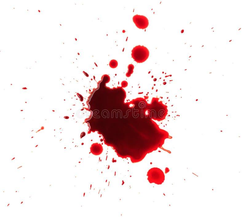 Sangue espirrado no fundo branco fotos de stock
