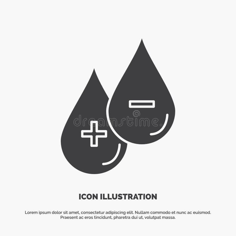 sangue, goccia, liquido, più, icona negativa simbolo grigio di vettore di glifo per UI e UX, sito Web o applicazione mobile illustrazione di stock