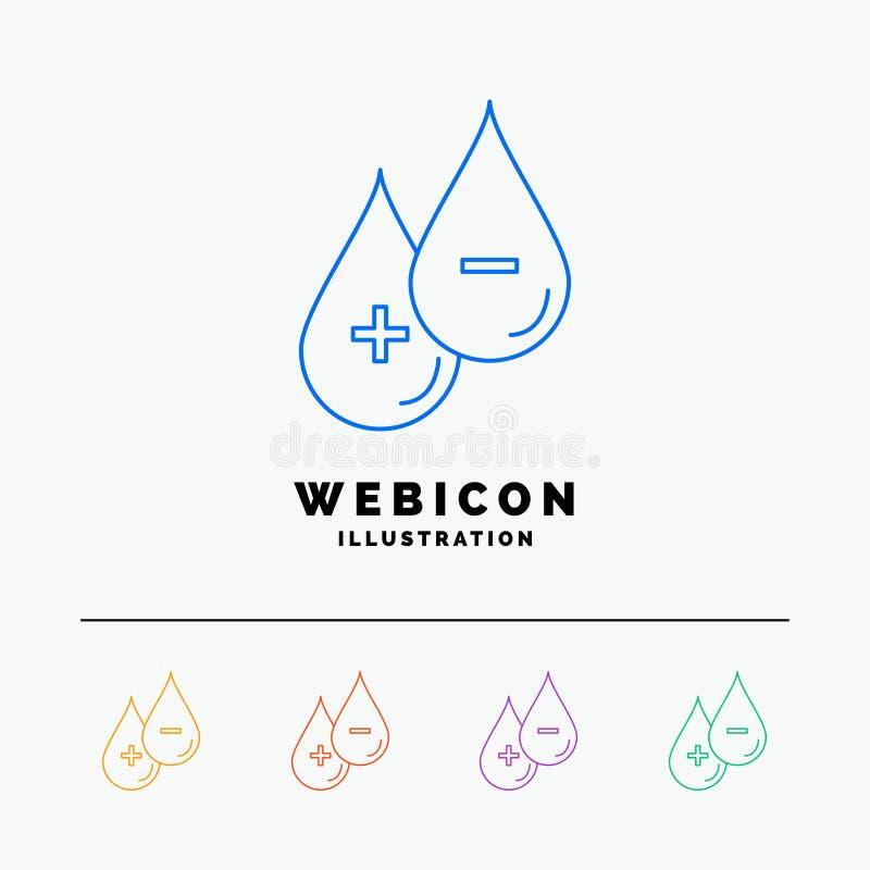 sangue, goccia, liquido, più, linea di colore di meno 5 modello dell'icona di web isolato su bianco Illustrazione di vettore royalty illustrazione gratis
