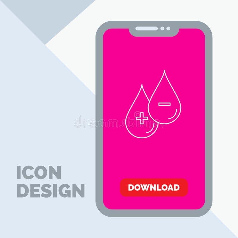 sangue, goccia, liquido, più, linea negativa icona in cellulare per la pagina di download illustrazione vettoriale
