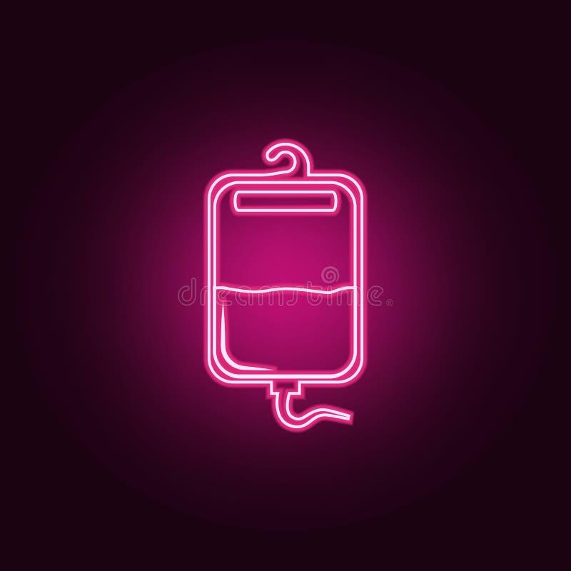 Sangue para o ícone da transfusão Elementos da medicina nos ícones de néon do estilo Ícone simples para Web site, design web, app ilustração do vetor