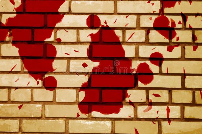 Sangue vermelho da arte no fundo da parede do cimento ilustração stock