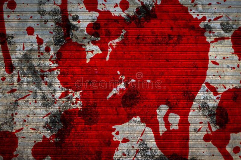 Sangue vermelho na textura da parede do cimento ilustração royalty free