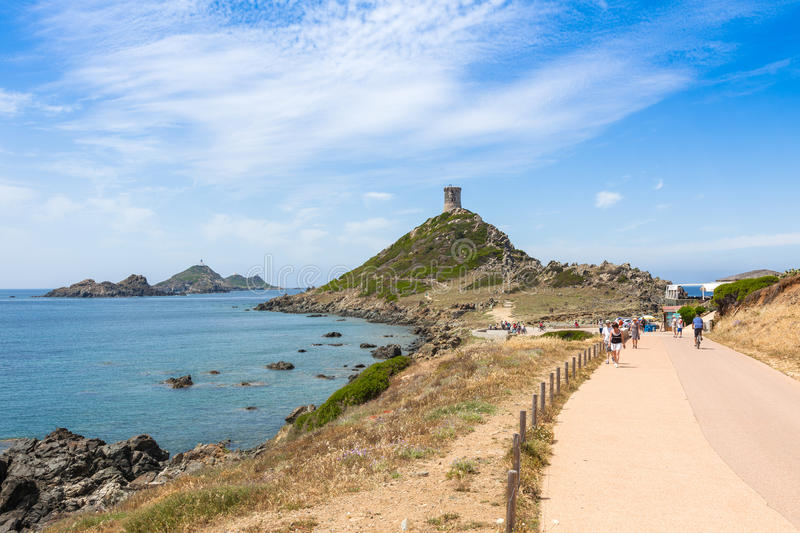 Sanguinaires bloodthirsty Islands hiking path, Corsica, France royalty free stock photo