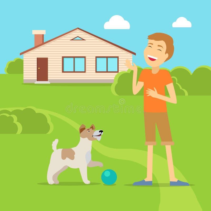 Sangwiniczny temperamencika typ chłopiec z psem royalty ilustracja
