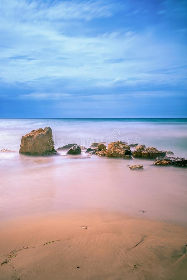 Sani Beach Sand, Rocks and Sea stock images