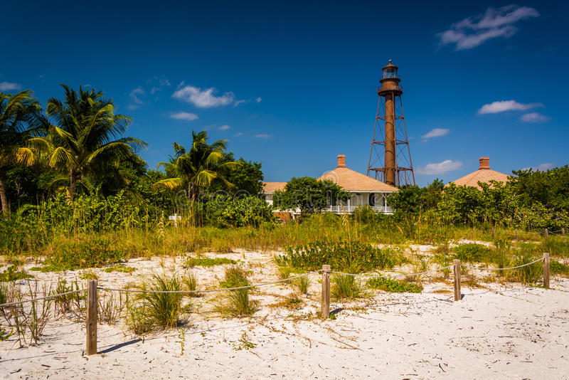 Sanibel wyspy latarnia morska w Sanibel, Floryda fotografia royalty free