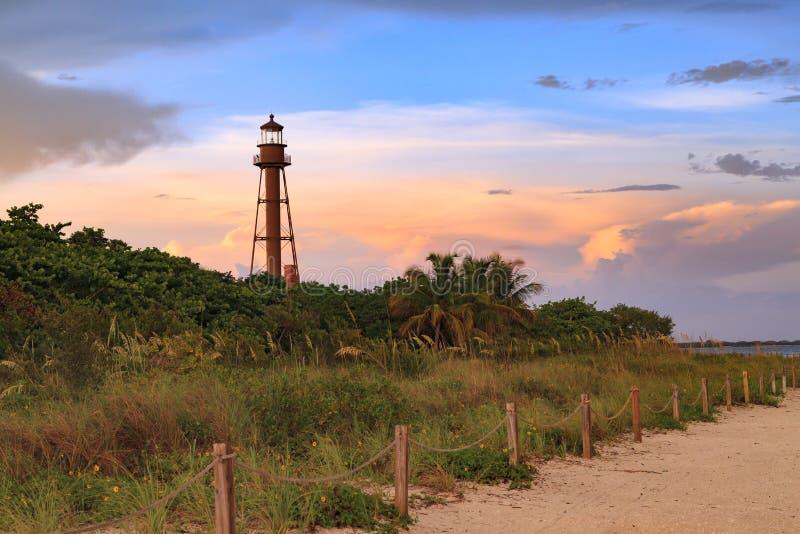 Sanibel wyspy latarnia morska, Sanibel wyspa, Floryda, usa zdjęcia stock