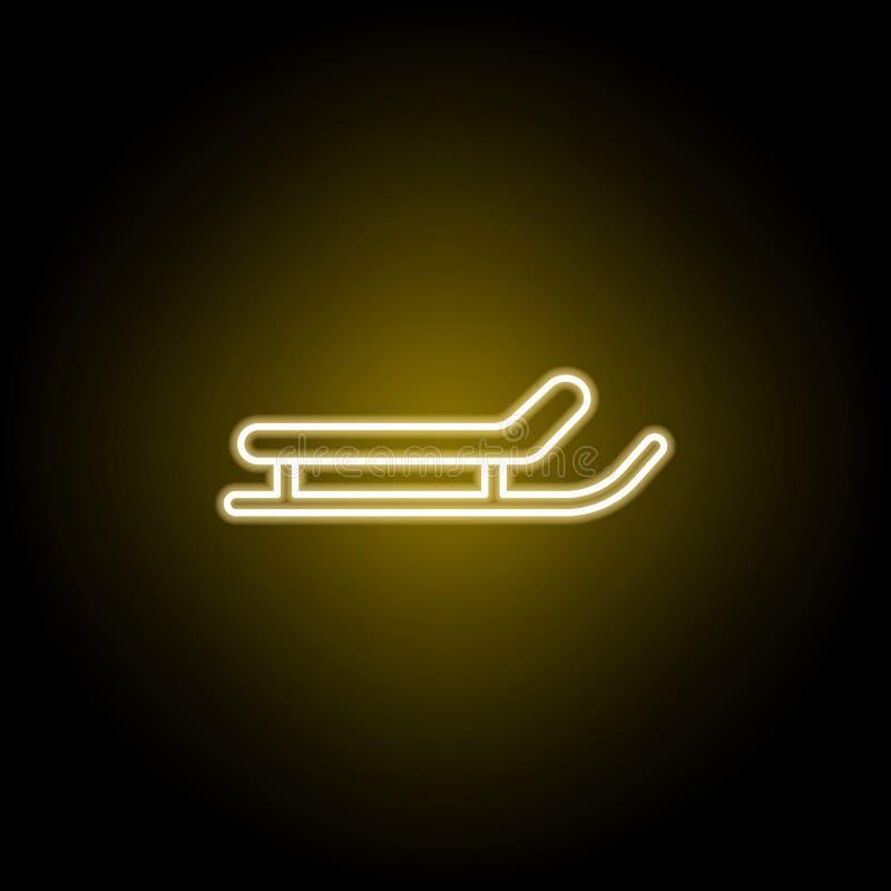 sanie ikona w neonowym stylu Znaki i symbole mog? u?ywa? dla sieci, logo, mobilny app, UI, UX royalty ilustracja