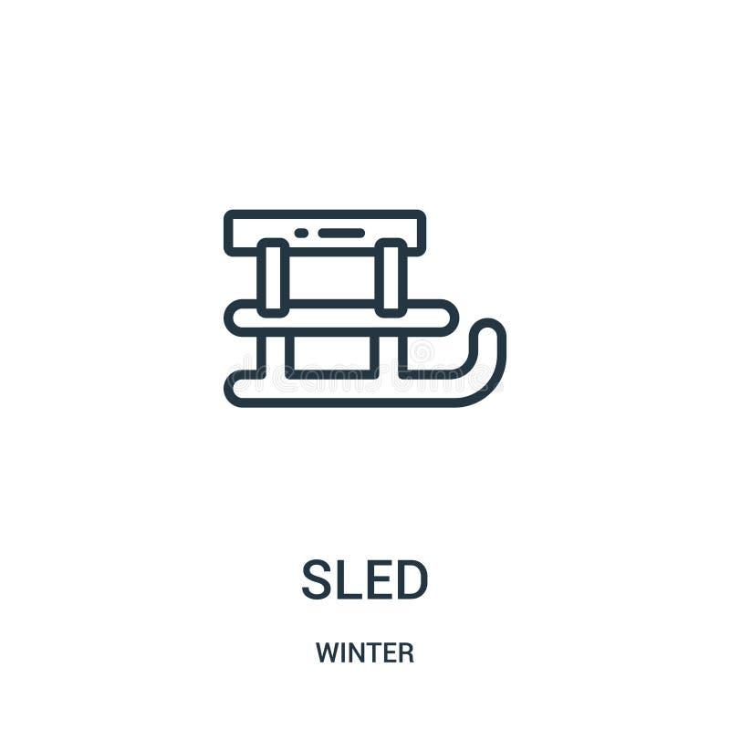 sanie ikony wektor od zimy kolekcji Cienka kreskowa sanie konturu ikony wektoru ilustracja Liniowy symbol dla używa na sieci i wi royalty ilustracja