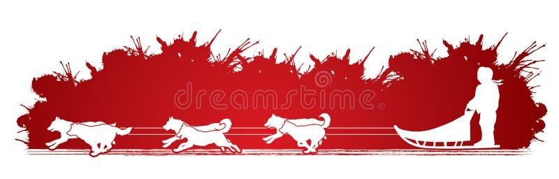 Sanie psów grafiki wektor royalty ilustracja