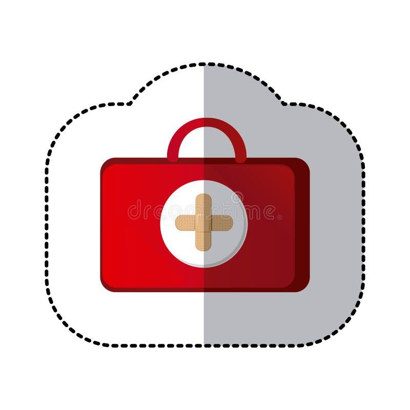 sanità della valigia di colore con il simbolo rosa dell'ospedale illustrazione vettoriale