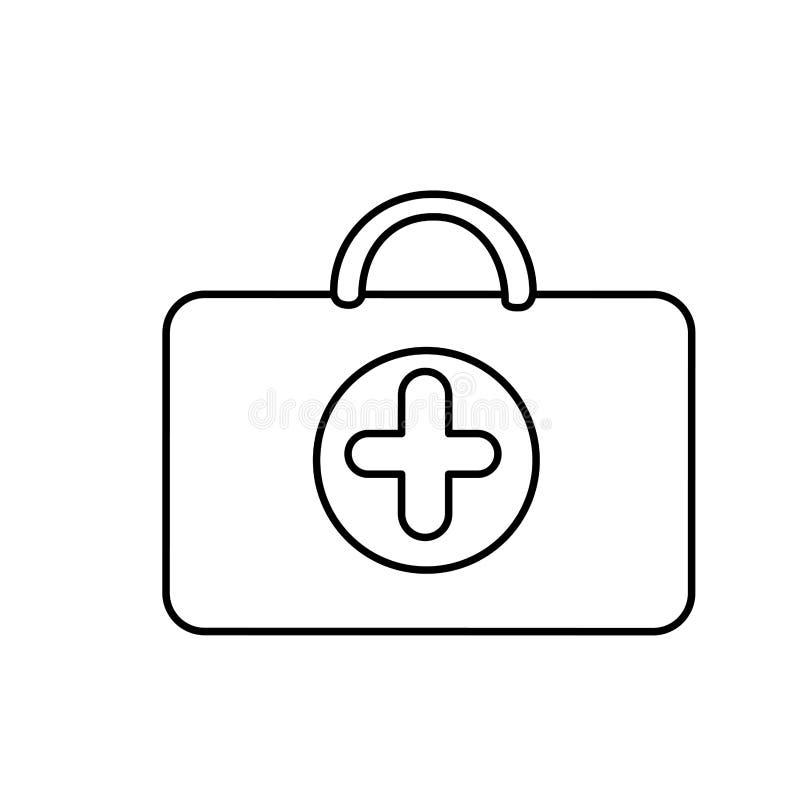 sanità della valigia di silouette con il simbolo dell'ospedale illustrazione di stock