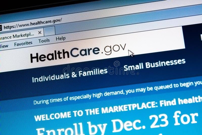 Sanità di ObamaCare sito Web del governo immagine stock libera da diritti