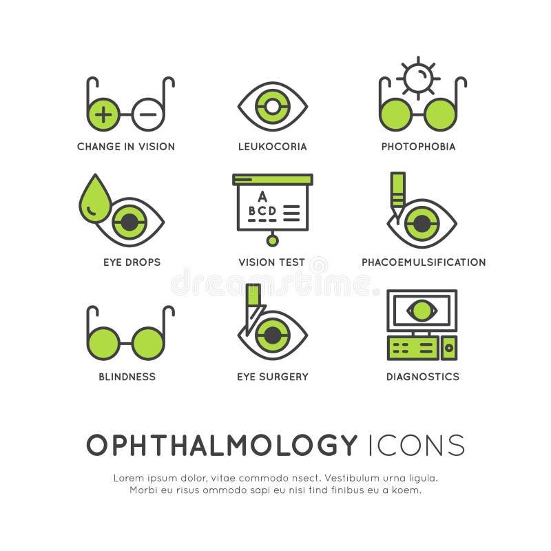 Sanità di oftalmologia, diagnosi medica illustrazione vettoriale