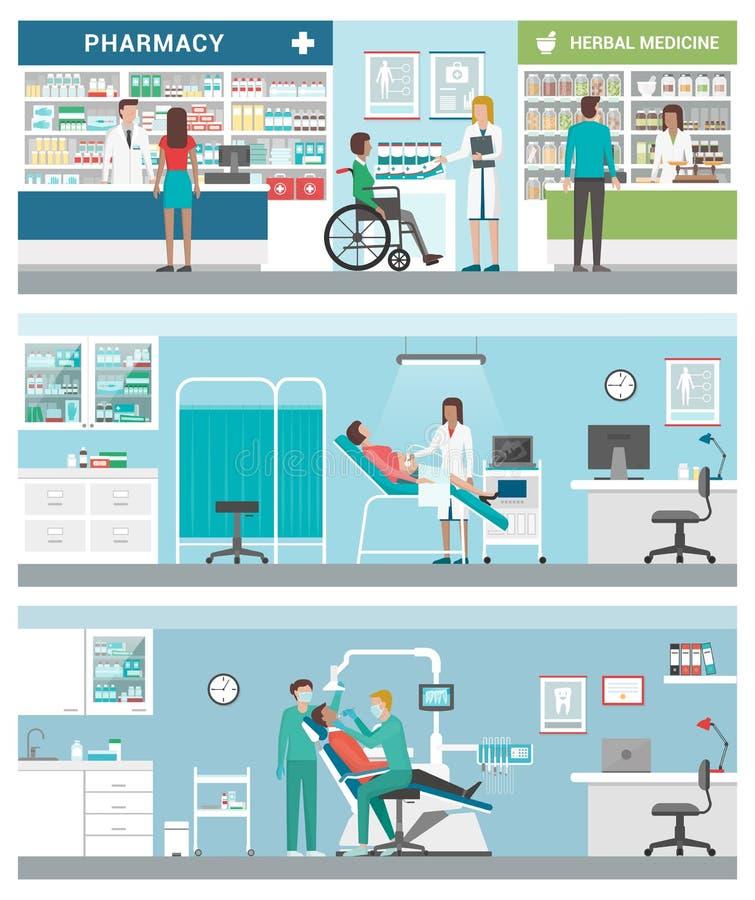 Sanità e cliniche illustrazione di stock
