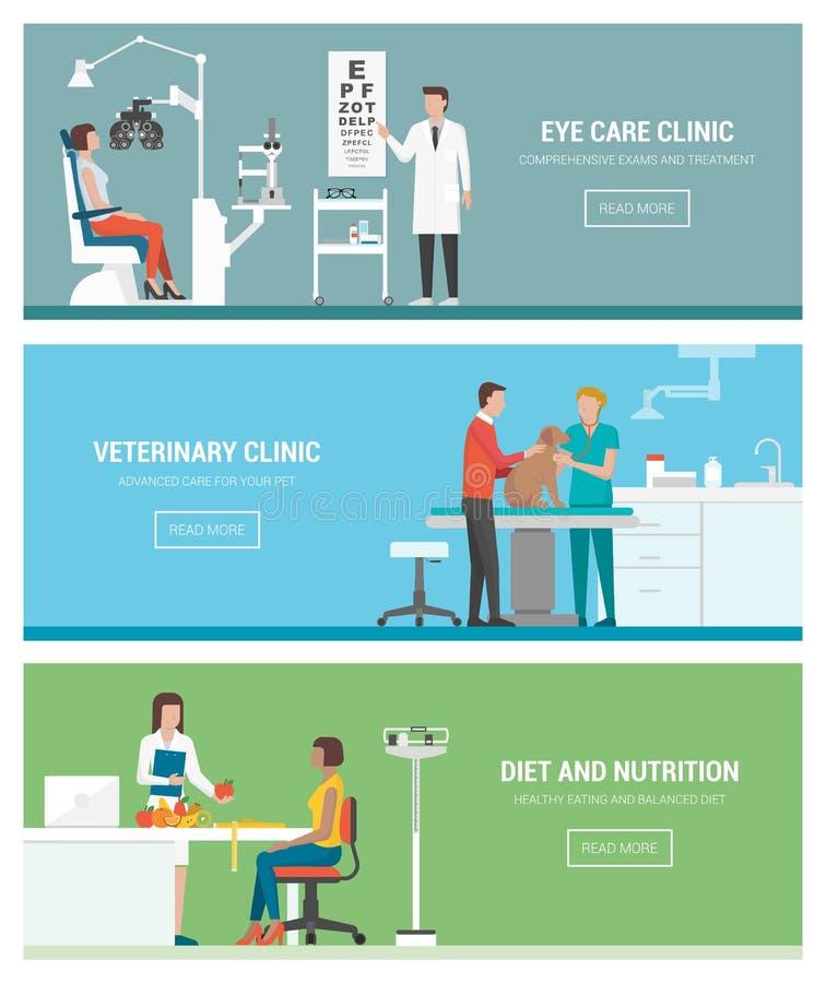 Sanità e cliniche illustrazione vettoriale
