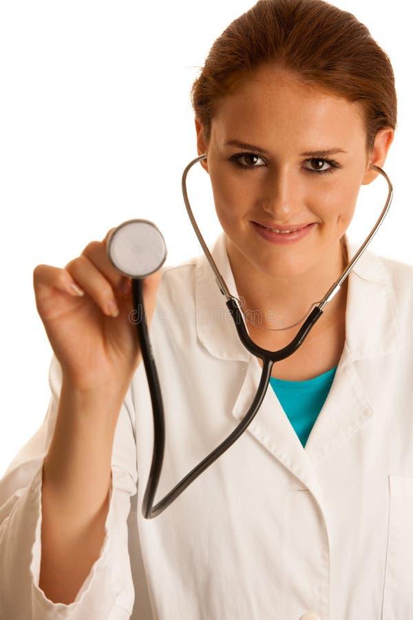 Sanità e medicina - medico della giovane donna isolato sopra briciolo fotografia stock