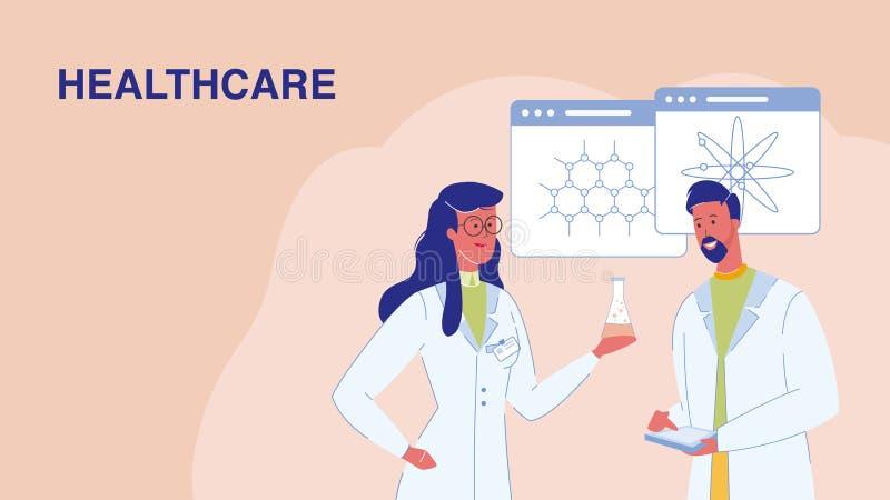 Sanit?, insegna di web di vettore di ricerca medica illustrazione vettoriale