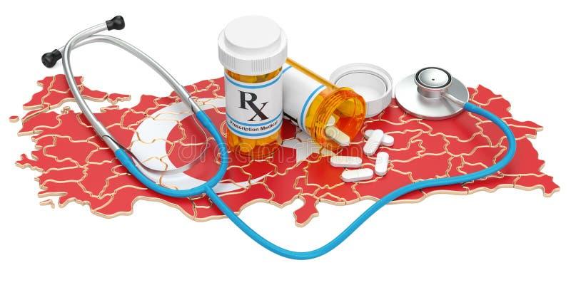 Sanità nel concetto della Turchia, rappresentazione 3D illustrazione di stock