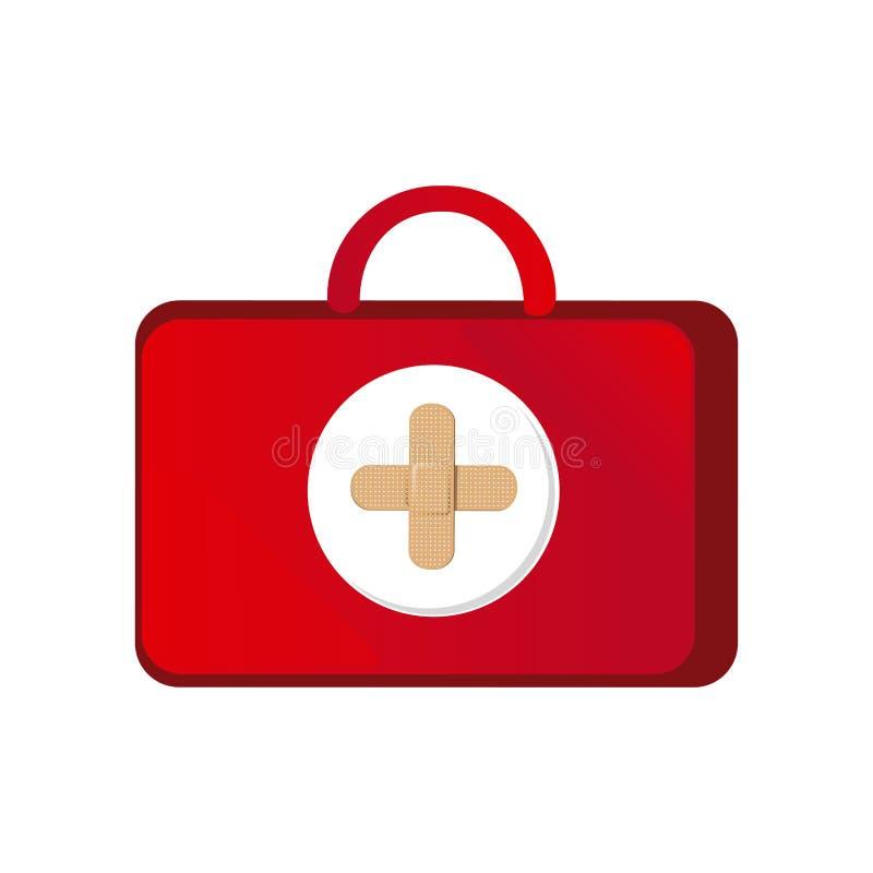 sanità rossa della valigia con il simbolo rosa dell'ospedale illustrazione di stock