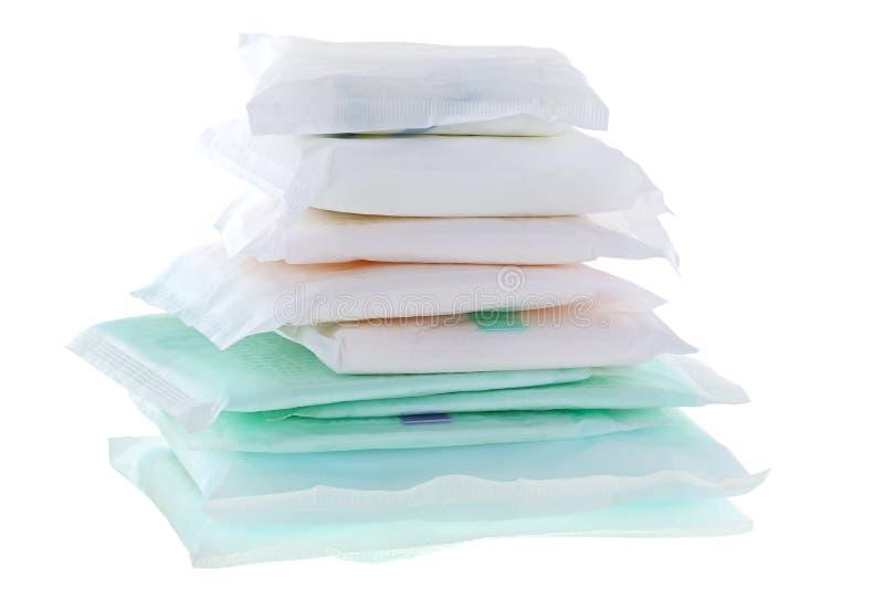 Sanitära servetter (sanitetsbinda, sanitärt block, det menstruations- blocket) royaltyfri fotografi