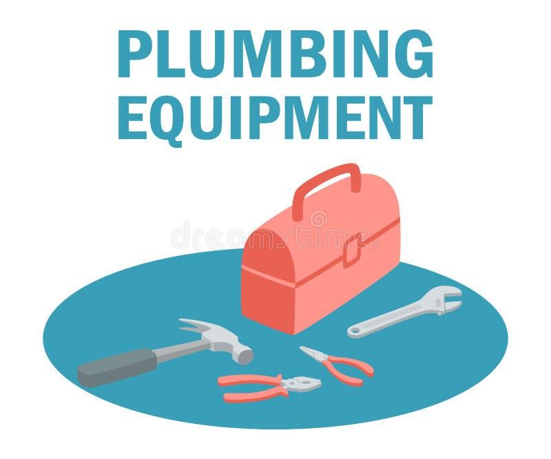 Sanitäreinrichtungs-Werkzeugkasten mit Werkzeug-Ausrüstung stock abbildung