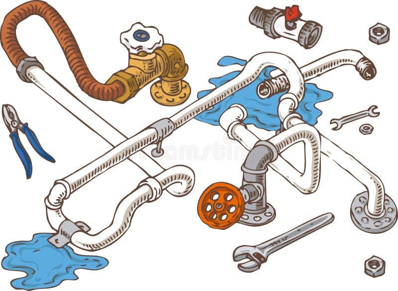 Sanitärtechnik-Zusammensetzung mit Rohren stock abbildung
