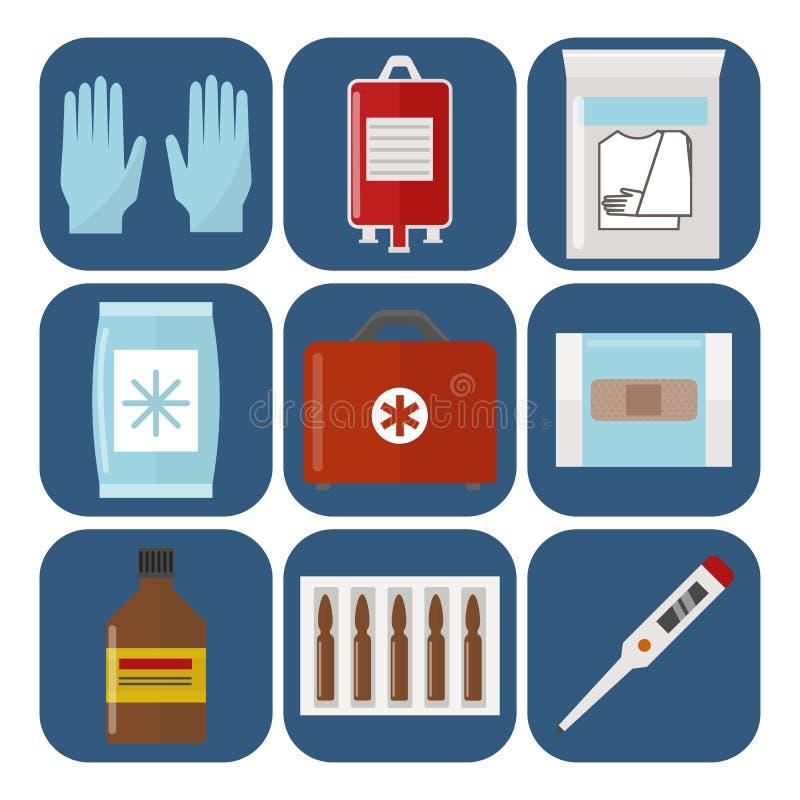 Sanitäterbehandlungsvektor der Apotheke des Krankenwagenikonenmedizingesundheitsnotkrankenhauses dringender medizinische Stütz stock abbildung
