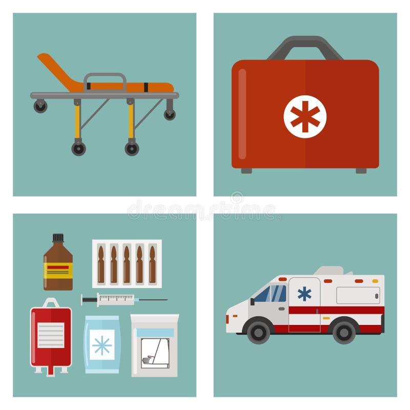 Sanitäterbehandlungsvektor der Apotheke des Krankenwagenikonenmedizingesundheitsnotkrankenhauses dringender medizinische Stütz vektor abbildung