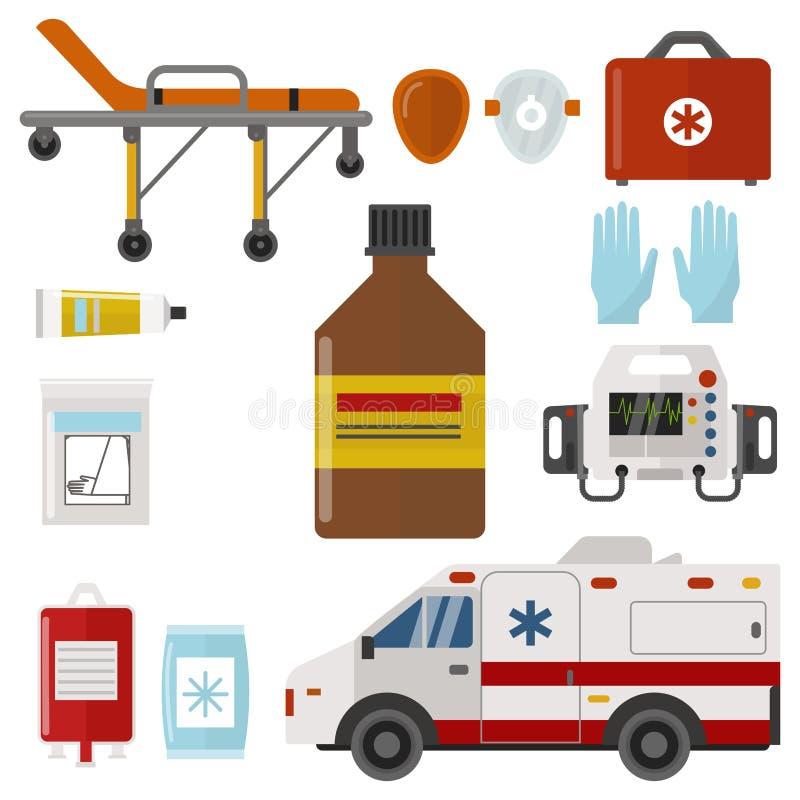 Sanitäterbehandlungsvektor der Apotheke des Krankenwagenikonenmedizingesundheitsnotkrankenhauses dringender medizinische Stütz lizenzfreie abbildung