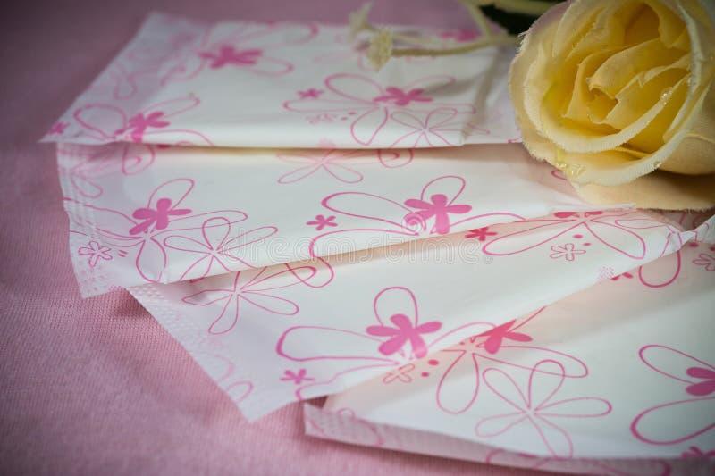 Sanitair stootkussenpakket voor de bescherming van de vrouwenhygiëne royalty-vrije stock afbeelding