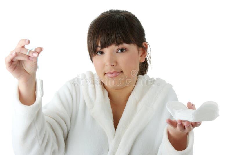 Sanitair of tampon stock afbeeldingen