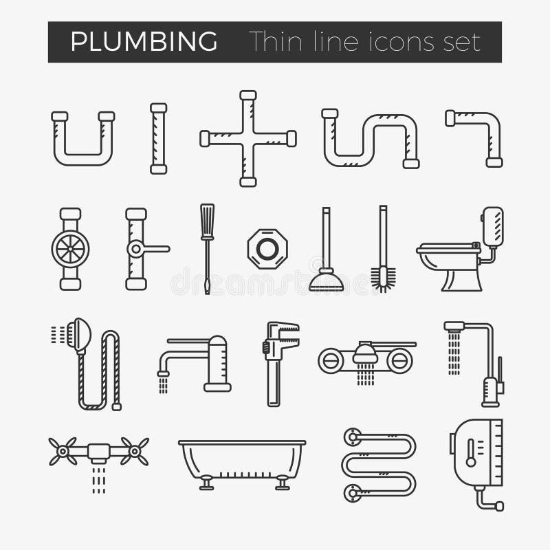 Sanitaire vector dunne de lijnpictogrammen van de loodgieterswerktechniek stock illustratie