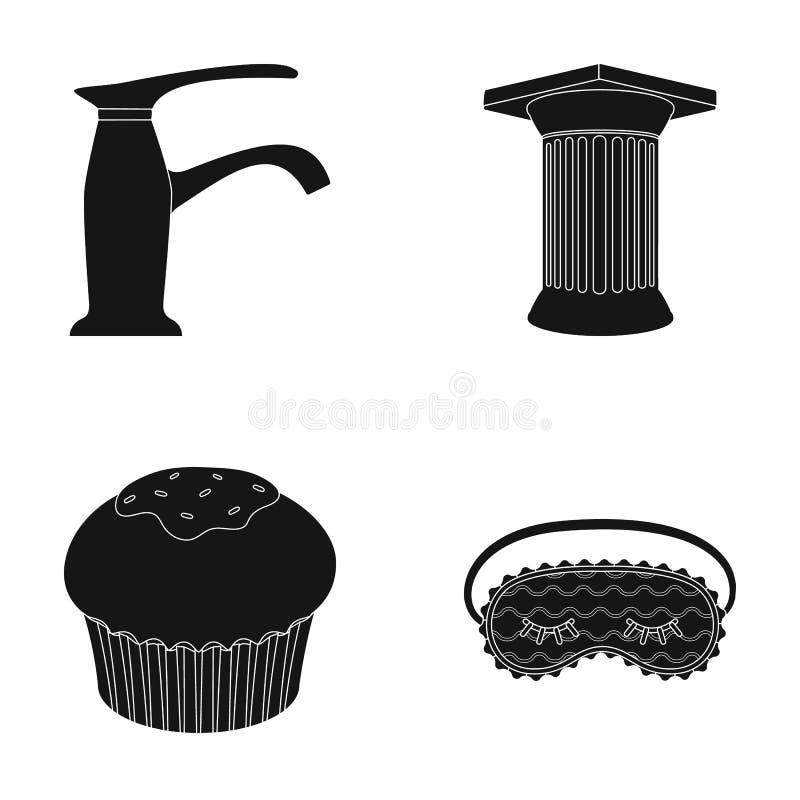 Sanitaire waren, en of Webpictogram die in zwarte stijl koken Archeologie, huispictogrammen in vastgestelde inzameling stock illustratie