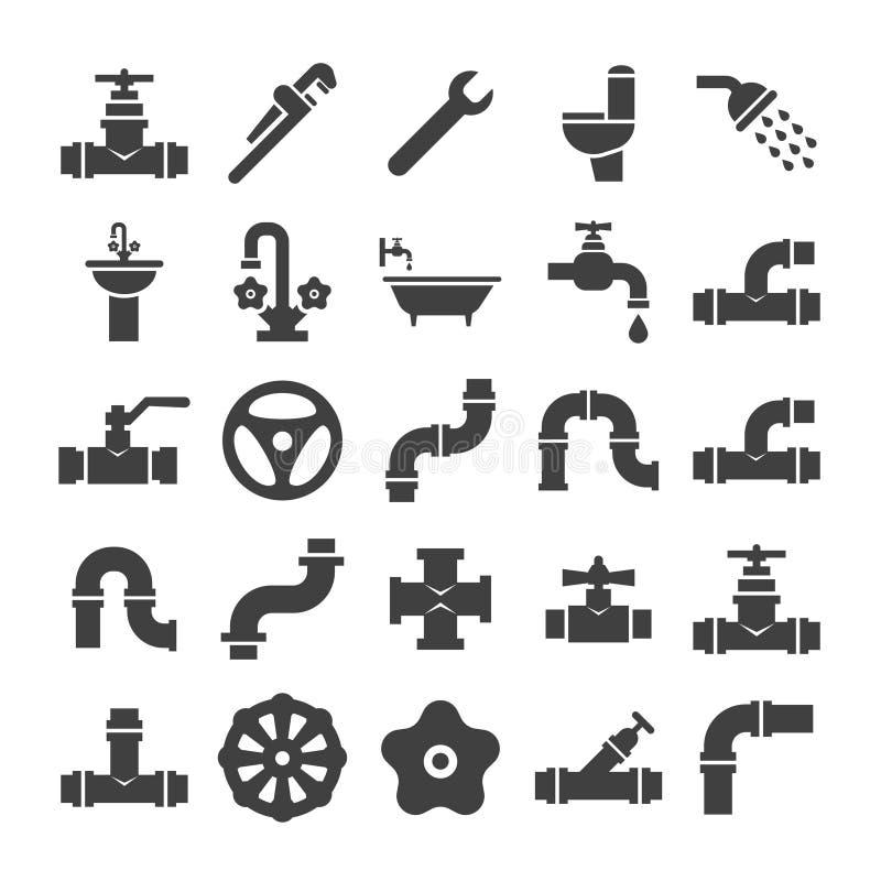 Sanitarna inżynieria, klapa, drymba, instalaci wodnokanalizacyjnej usługa protestuje ikony inkasowe ilustracja wektor