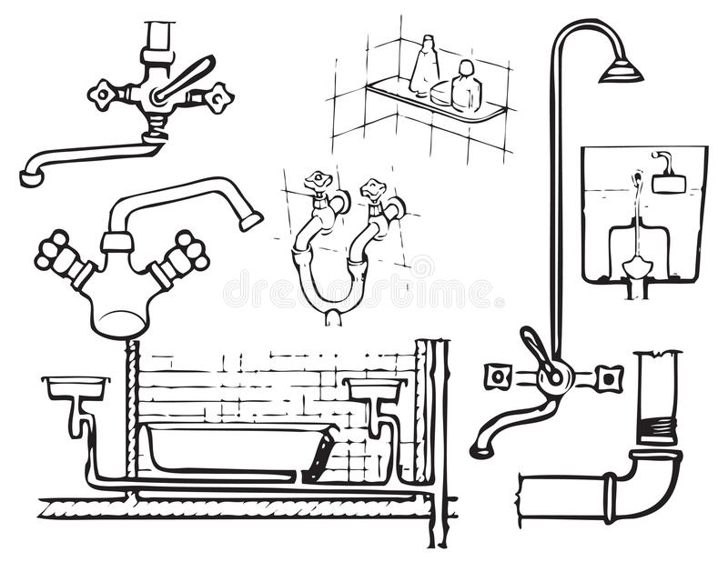 Download Sanitary engineering stock vector. Image of drawing, illustration - 20897200