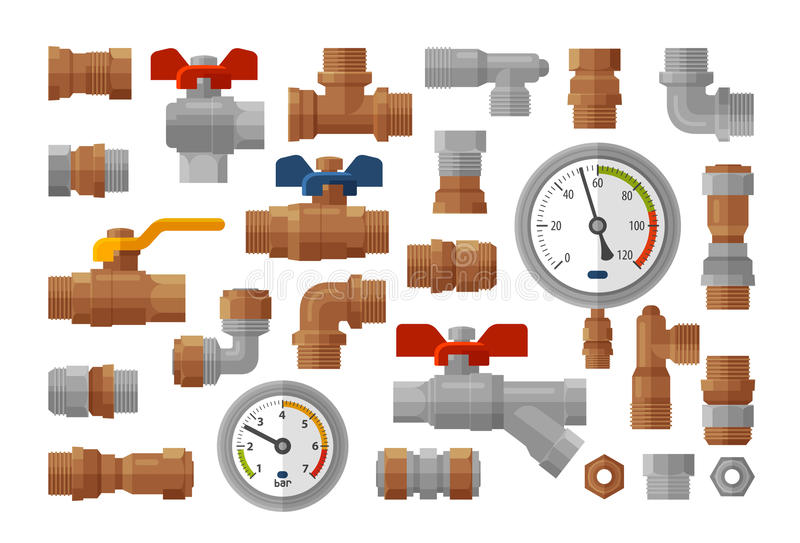 Sanitary engineering, plumbing equipment set icons. Manometer pressure, meter, industry, fittings, water supply concept vector illustration
