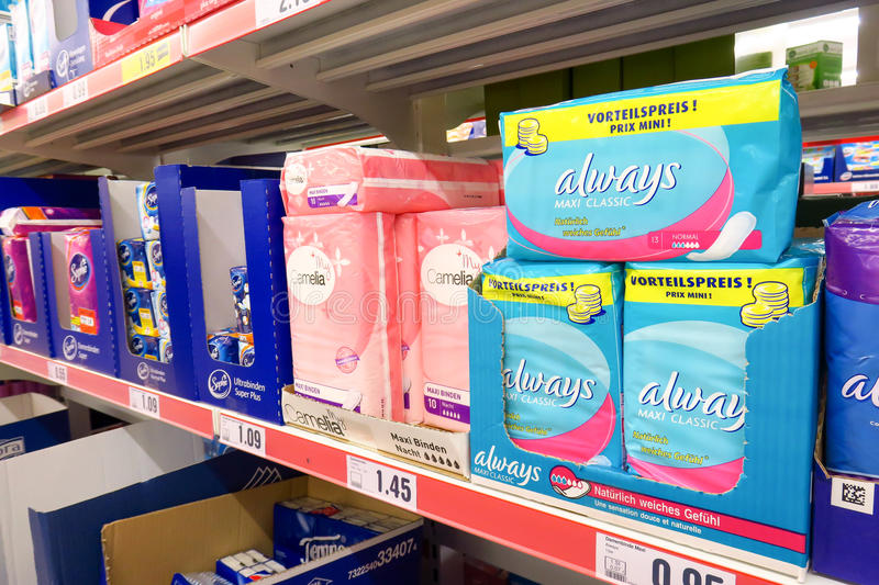 Always sanitary pads. In a store with copy space to the left stock photography