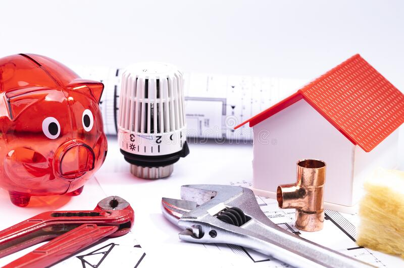 Sanitary Planning for house building stock photography