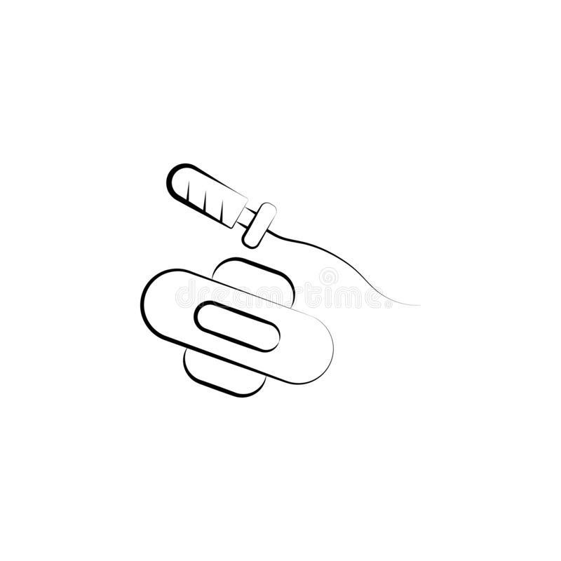 Sanitary, tampon, pad hand drawn icon. One of the women health icons for websites, web design, mobile app royalty free illustration