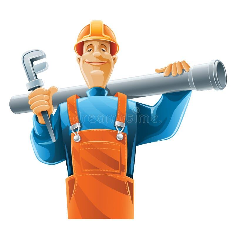 Sanitary technician with tube stock illustration