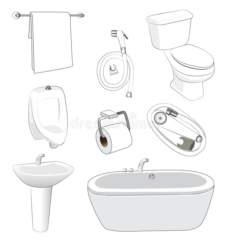Sanitary ware bathroom. On white background vector illustration