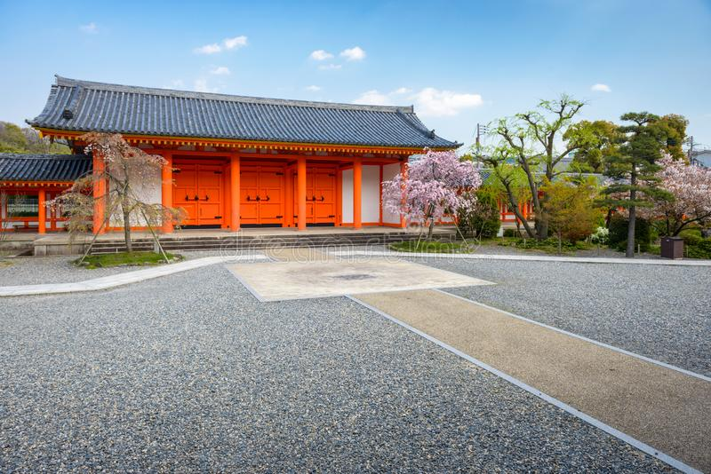 Sanjusangendo Shrine gate in Kyoto, Japan. During spring season with cherry blossoms royalty free stock photography