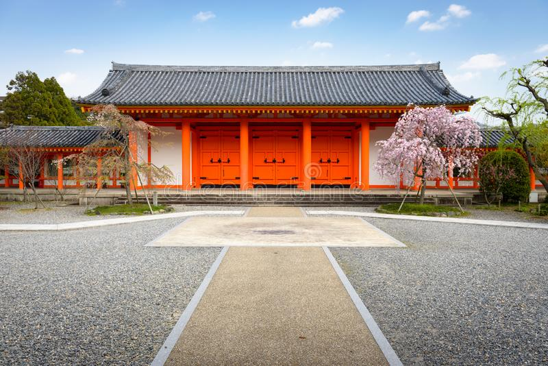 Sanjusangendo Shrine gate in Kyoto, Japan. During spring season with cherry blossoms royalty free stock photo