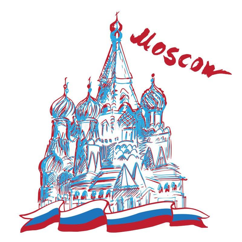 Sanka basilikas domkyrka - Moskva royaltyfri illustrationer