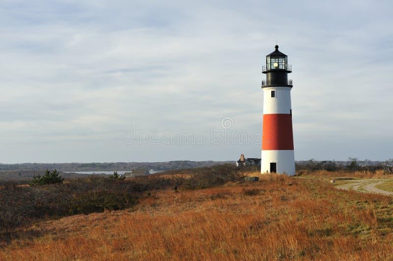 sankaty秋天顶头轻的灯塔的nantucket 库存照片